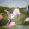 Buddah And The Flamingos by Graciela Castro