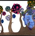 Buddha Head In Trees by Arttantra