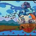 Buddha Head Landscape by Arttantra