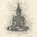 Buddha Pen And Ink Drawing by Karla Beatty