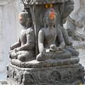 Buddha Statue At Temple - Swayambunat  by Dagmar Batyahav