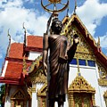 Buddha Statue With Sunshade Outside Temple Hat Yai Thailand by Imran Ahmed