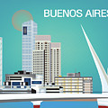 Buenos Aires Argentina Horizontal Skyline - Blue by Karen Young