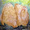 Buff Orpington Hens In The Garden by Susan Baker