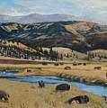 Buffalo By A Stream by Paul Larson
