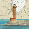 Buffington Harbor Lighthouse In Nautical Chart Map by Cathy Peek
