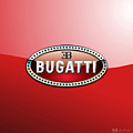 Bugatti - 3 D Badge On Red by Serge Averbukh