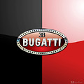 Bugatti 3 D Badge On Red And Black  by Serge Averbukh