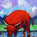 Bull On The River by Maxim Komissarchik