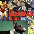 Bull Terrier Art Canvas Print - Batman Movie Poster by Sandra Sij