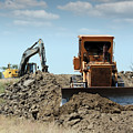 Bulldozer And Excavator On Road Construction by Goce Risteski