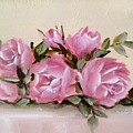 Bunch Of Pink Roses Painting by Chris Hobel