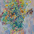 Bunch Of Wild Flowers In A Vase by Vitali Komarov