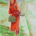Bundled And Barefoot -- Portrait Of Old Asian Woman Outdoors by Jayne Somogy