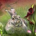 Bunny In The Lilies by Carol Cavalaris
