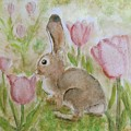 Bunny In The Tulips by Laurie Morgan