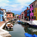 Burano Canal And Homes by Stan Roban
