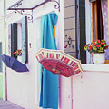Burano Italy Umbrellas  by John McGraw
