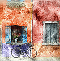 Burano Italy Digital Watercolor On Photograph by Brandon Bourdages