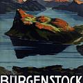 Burgenstock - Lake Lucerne - Switzerland - Retro Poster - Vintage Travel Advertising Poster by Studio Grafiikka