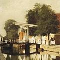 Burgwal Met De Hagebrug Te Haarlem by Johannes Christiaan