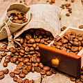 Burlap Bag Of Coffee Beans And Drawer by Jorgo Photography - Wall Art Gallery
