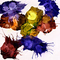 Bursting Comets 2017 - Yellow And Purple On White by Roses Fine Art Studio