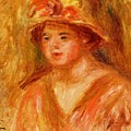 Bust Of A Young Girl In A Straw Hat 1917 by Renoir PierreAuguste