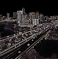 Busy Austin In Glowing Edges by James Granberry