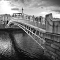 Busy Ha'penny Bridge 2 Bw by Alex Art and Photo