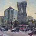 Busy Morning In Downtown Mississauga by Ylli Haruni