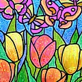 Butterflies In The Tulip Garden by Jim Harris