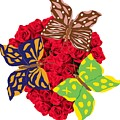 Butterflies On Roses by Wilma Barnwell