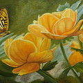 Butterfly Among Yellow Flowers by Angeles M Pomata
