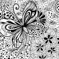 Butterfly And Flowers, Doodles by Katerina Kirilova