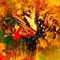 Butterfly Atop Flower Arrangement by Debra Lynch