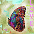Butterfly In Beige And Teal by Shelly Tschupp