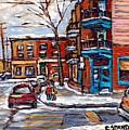 Buy Original Wilensky Montreal Paintings For Sale Achetez Petits Formats Scenes De Rue Street Scenes by Carole Spandau