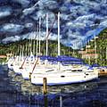 Bvi Sailboats Painting by Timothy Hacker