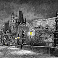 Bw Prague Charles Bridge 06 by Yuriy Shevchuk