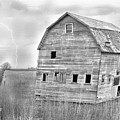 Bw Rustic Barn Lightning Strike Fine Art Photo by James BO  Insogna