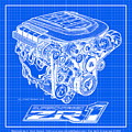 C6 Zr1 Corvette Ls9 Engine Blueprint by K Scott Teeters
