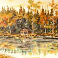 Cabin On The Lake by Joy of Life Art Gallery