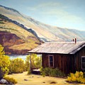 Cabin On The Snake River Ghost Town Of Holmstead Oregon by Evelyne Boynton Grierson