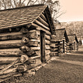 Cabins At Valley Forge In Sepia by Bill Cannon