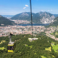 Cable Car Above The City Of Lecco by Didier Marti