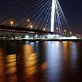 Cable-stayed Bridge Prins Clausbrug In Utrecht At Night 22 by Merijn Van der Vliet
