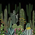 Cactus Garden At Night by Elaine Plesser