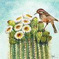 Cactus Wren And Saguaro by Marilyn Smith