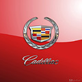 Cadillac - 3 D Badge On Red by Serge Averbukh